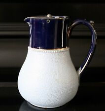 More details for 1930's lovatts langley ceramic pale blue and gold pewter lidded pitcher 13 cm
