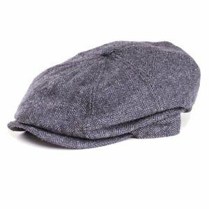 Kids 8 Panel Herringbone Flat Cap Grey - Peaky Blinders Newsboy Children's Hat