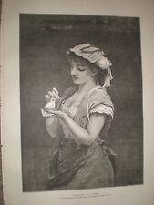 Los huérfanos por J Parker Chica Con Pájaro 1878 antiguos impresión rf Y1