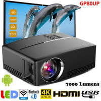 Multimedia HD WiFi 7000 Lumens Android Bluetooth 3D LED Home Cinema Projector US
