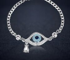 1.5ct 14K White Gold Blue Eye Diamond Women's Bracelet Tennis Bracelet Chain