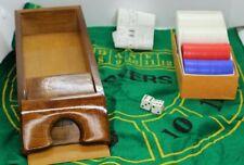 Wooden Black Jack Dealers 6 Deck 1 Pr Dice Chips Shoe Poker Casino Gamble New