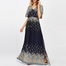 Fashion Womens V Neck Long Maxi Dress Boho Floral Split Beach Sundress Plus Size Navy 14-16
