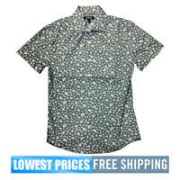 Express Men's NWT Short Sleeve Cotton D Green Floral Button Front Polo Shirt XL