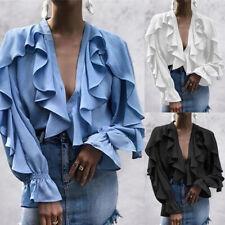 Womens Ruffle Frill Tops V Neck Long Sleeve Blouse Party Holiday Shirt Size 8-26