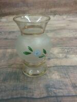 Bartlette Collins Frosted Bud Vase Vintage Handpainted Blue Floral Design
