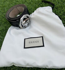 GUCCI Monogram Black Belt with Silver GG