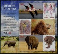 Tanzania African Wildlife Sheetlet of 6 Diff Stamps. Birds, Lion, Elephant, Mint