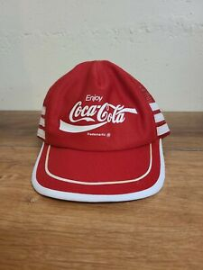 Vintage Coca Cola 3 Striped Mesh Trucker Hat  Cap Snap Back Red White - USA MADE