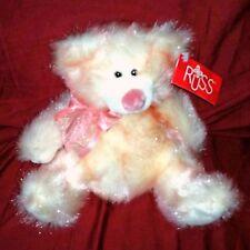 Russ TAFFIE Teddy Bear Glittery Pink Fuzzy Fur 8in Sitting Plush NEW Sheer Bow