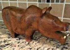 Hippo With Teeth Sculpture Hand Carved Wood Figurine South Africa Vintage