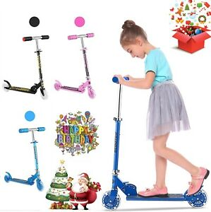 Kids Kick Push Scooter LED Light Up 2 Wheel Folding Adjustable Boy Girl 3-10yr
