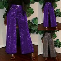 Women Sequin Trousers High Waist Evening Party Cocktail Wide Leg Pants UK