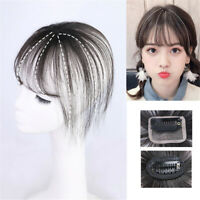 Neat Air Bang Straight 100% Human Hair Clip in Topper Hairpiece Cover Loss Hair
