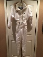 NILS SKI SNOW SUIT ONE PIECE INSULATE FUR HOOD VINTAGE SNOWBOARD SMALL SIZE 10