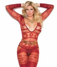 Sexy Lingerie Red Bodystocking Women Plus Long Sleeve Geometric Sheer Bodysuit