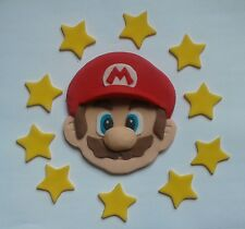 edible cake decoration SUPER MARIO HEAD and stars set