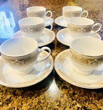 Tea Cup Saucer 12PC Set Flowers Gift box Coffee Espresso Cup Gold Trim Procelain