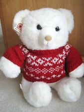 """Hallmark Heartline L Plush Stuffed White Bear Toy in Red Sweater 13 """" Seated Nwt"""