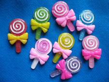 24 Resin Lollipop Flatback Button w/Bow-8 Colors B082