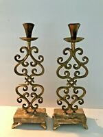 2-Vintage Handmade in Israel Brass Twisted Candle Sticks with Marble Base 12""