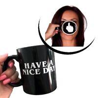 Kreative Coole Tasse Kaffetasse Geschenk Stinkfinger Mittelfinger schwarz Büro