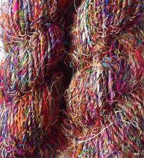 Sari de seda de primera calidad hilo, Arco Iris Mutlicolour, 100g/Tejer Crochet. textiles// Tejido