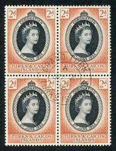 Turks and Caicos Is SG234 1953 Coronation CDS Block of Four