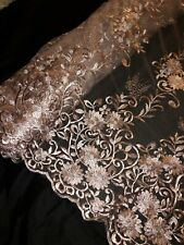 2MTR WHITE SCALLOPED EGDES  EMBROIDERED TULLE NET FABRIC 52IN WIDE