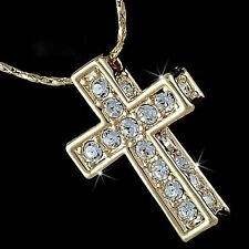 Unisex 18K White Gold GP Austrian Crystal Cross Lady Bridal Necklace Chain N344