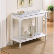 INTRICATELY CARVED TOP HALL DISTRESS WHITE TABLE SHABBY COTTAGE CHIC NEW~~34709