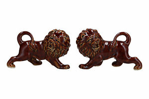Small Pair of Vintage Chinese Pottery Lions