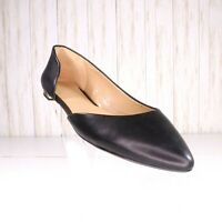 Ann Taylor Black Cutout Leather Flats Shoes Size 9.5 M Womens euc
