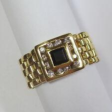 503 - Dekorativer Kettenring aus Gelbgold 585 mit Saphir und Brillanten - 2130/8