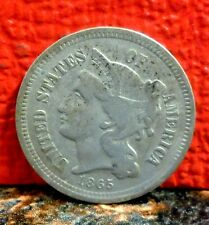 Higher Grade First Year 1865 Three Cent Nickel with Doubling and Die Crack