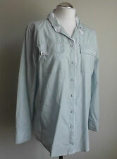 Marc Cain Damen Bluse Shirt Hemd Baumwolle hellblau-hellgrau N5 42  Neu