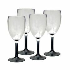 Royal Pack of 4 Smoked Acrylic Wine Fizzy Glasses Camping Caravanning Touring