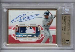 2020 Topps Definitive Framed Logo Patch Auto Red 1/1 Rafael Devers BGS10 PRISTIN