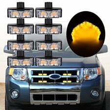 8 × 2LED Car Front Grille Strobe Light Bar Warning Hazard Emergency Lamp Amber