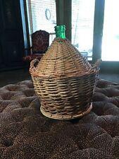 """Old Wicker Wine Big Glass Demijohn """"Bonbonne"""" Wine Bottle Wicker Big"""