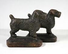 Antique 1920s Sealyham or Cesky Terrier Bookends Original Paint Cast Iron Dog