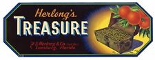TREASURE Brand, Leesburg, Florida Citrus, **AN ORIGINAL FRUIT CRATE LABEL**