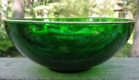 VMC France Emerald Green Glass Bowl with Gold Trim
