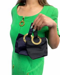 CELINE Vintage Logo Micro Bag Mini Pouch Black Gold RankAB