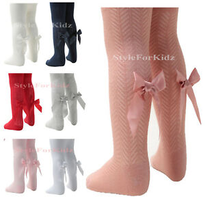 BABY GIRLS TIGHTS WITH RIBBON BOW SPANIH NEW BORN , 3,6,12 AND 24 MONTHS T120