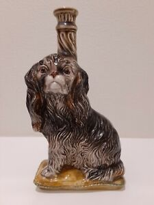 RARE Antique Porcelain Italian Wine Cocker Spaniel Painted Decanter **EMPTY**