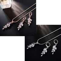 Women's Silver And Rose Gold Tassel Pendant Necklace & Earring Jewellery Set UK