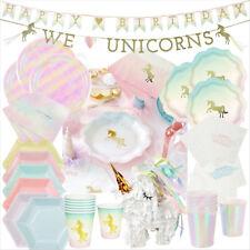 Talking Tables Party Birthday Tableware Unicorn Iridescent Pastel Plates Napkins