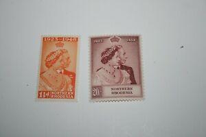 1/12/48 Northern Rhodesia George VI Royal Silver Wedding 2 Mtd Mint 1 1/2d +20s