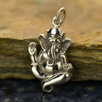 925 Sterling Silver Sterling Silver Ganesh Yoga Hindu Pendant Necklace 1091